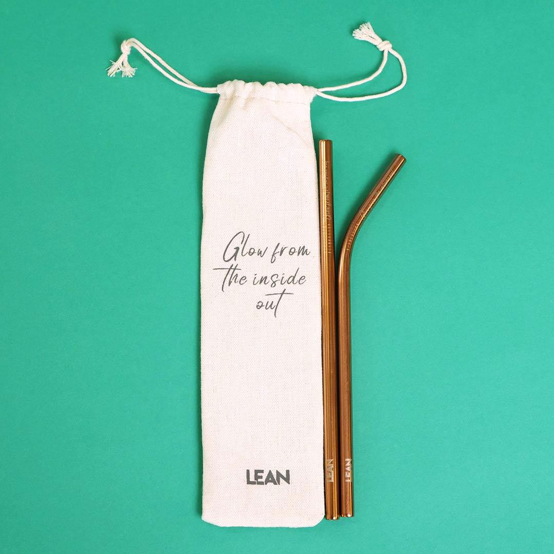 Rose Gold Straw Set